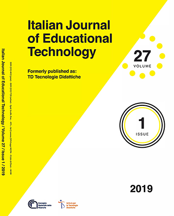 Italian Journal of Educational Technology (cover), volume 27, issue 1 (2019)